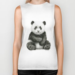 Panda Baby Watercolor Biker Tank