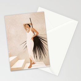 Minimal Woman with a Palm Leaf Stationery Cards