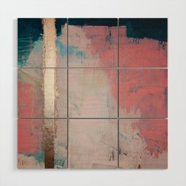Morning Light: a minimal abstract mixed-media piece in pink gold and blue by Alyssa Hamilton Art Wood Wall Art