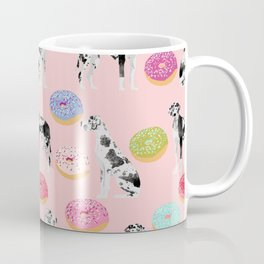 Great Dane donuts food lover dog person pet portrait by pet friendly dog breeds Coffee Mug