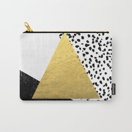 Erida - abstract black and white gold triangle painted dots minimalist decor nursery dorm college ar Carry-All Pouch