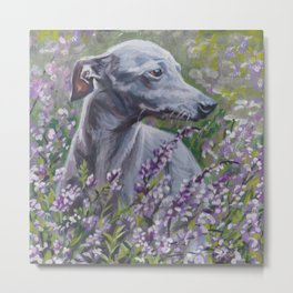 Italian Greyhound dog art from an original painting by L.A.Shepard Metal Print