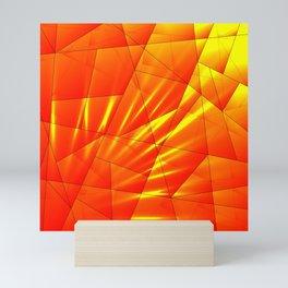 Bright sunshine on orange and yellow triangles of irregular shape. Mini Art Print