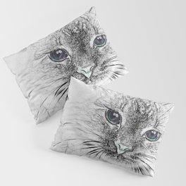 Siberian Kitty Cat Laying on the Marble Slab Pillow Sham