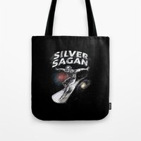 carl sagan Tote Bags featuring Silver Sagan by The Cracked Dispensary