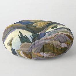 Canadian Landscape Franklin Carmichael Art Nouveau Post-Impressionism Mirror Lake Floor Pillow