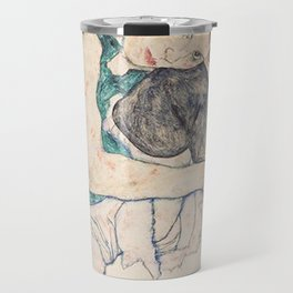 SEATED WOMAN WITH BENT KNEE - EGON SCHIELE Travel Mug
