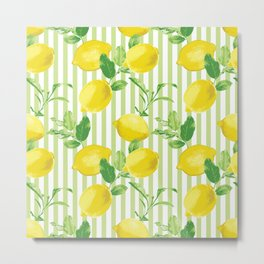The Fresh Striped Lemon Vector Seamless Pattern Metal Print