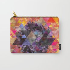 Fire red blue yellow  triangle pattern - Watercolor illustration Carry-All Pouch