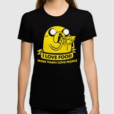 I love food more than I love people Black Womens Fitted Tee X-LARGE