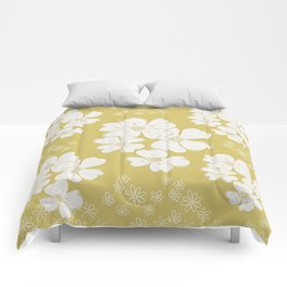White thoughts on gold Comforters