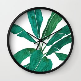 banana leaf watercolor Wall Clock