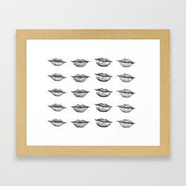 Black and White Lips Framed Art Print