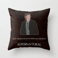 sam winchester Throw Pillows featuring Supernatural - Sam Winchester by MacGuffin Designs