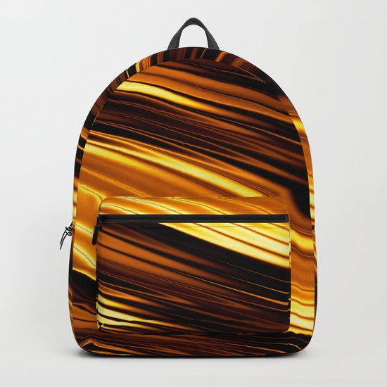 Abstract Orange And Black Waves Backpack