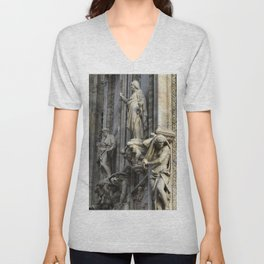 Milan Duomo Cathedral Sculpture Sudy, Italy Unisex V-Neck