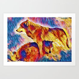 Two Wolves In Love Art Print