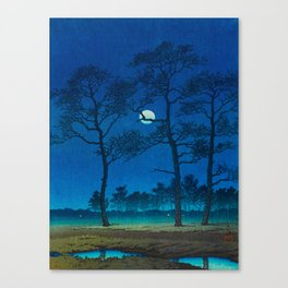 Vintage Japanese Woodblock Print Three Tall Trees At Night Forest Field Landscape Canvas Print