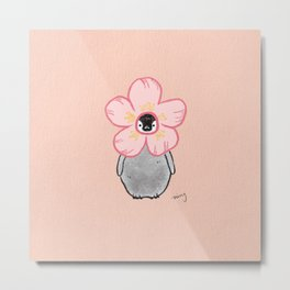 Penguin in Sakura Petal Hat Metal Print