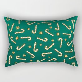 Golden Candycane Green Rectangular Pillow