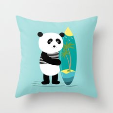Surf along with the panda. Throw Pillow