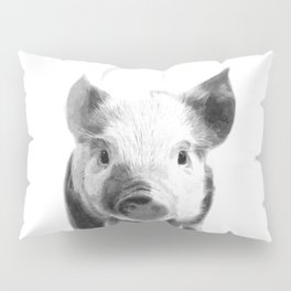 Black and white pig portrait Pillow Sham