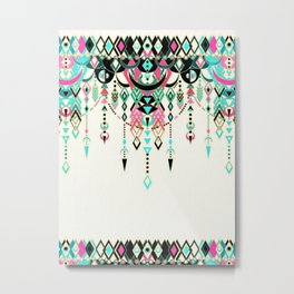 Modern Deco in Pink and Turquoise Metal Print