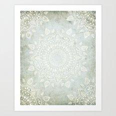 Powder Blue Mandala Art Print