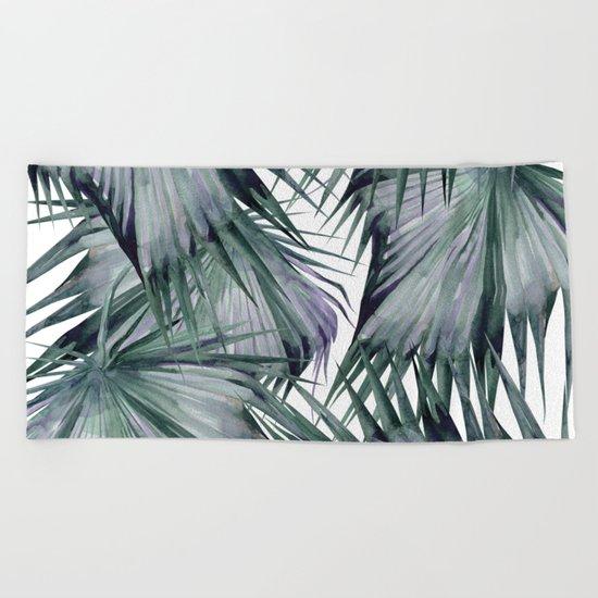 Tropical Leaves Green Beach Towel