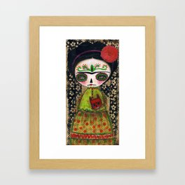 Frida The Catrina And The Devil - Dia De Los Muertos Mixed Media Art Framed Art Print