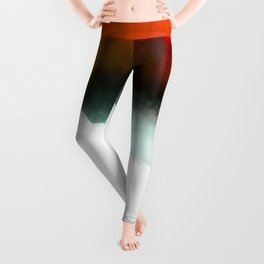 Red, Teal and White Abstract Leggings