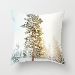 Snowy Tree | Winter Snow Forest Nature Photography Throw Pillow