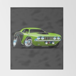 Classic Seventies Style American Muscle Car Cartoon Throw Blanket