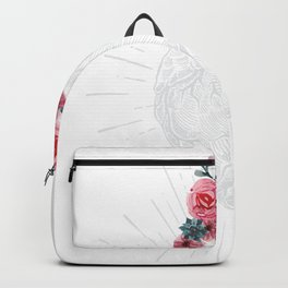 Womens Anatomical Heart graphic Human heart with flowers Backpack