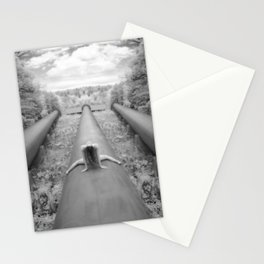 0925-LP Industrial Nature Nude Woman Straddling Massive Hydro Pipe Stationery Cards