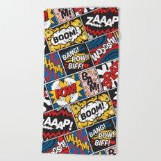 Modern Comic Book Superhero Pattern Color Colour Cartoon Lichtenstein Pop Art Beach Towel