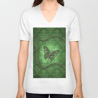 decorative V-neck T-shirts featuring Decorative butterfly by nicky2342