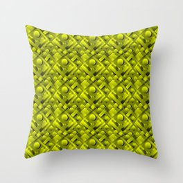 Volumetric design with interlaced circles and yellow rectangles of stripes. Throw Pillow