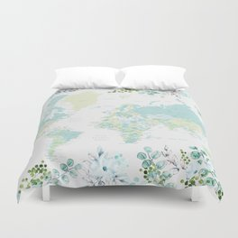 Mint and green floral world map with cities Duvet Cover