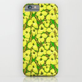 Puya Flowers, Floral Pattern, Green Yellow iPhone Case