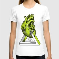 anatomical heart T-shirts featuring Green Anatomical heart  by Mia Hawk
