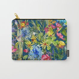 Watercolor flower garden with hummingbird Carry-All Pouch