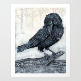 El ve a través del cuervo y controla la niebla Art Print