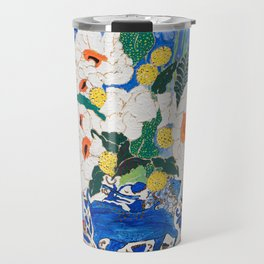 Queen of California - Giant Matilija Poppy Bouquet in Lion Vase on Blue Travel Mug