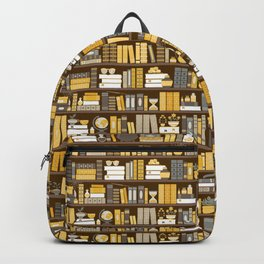 Book Case Pattern - Yellow Grey Backpack