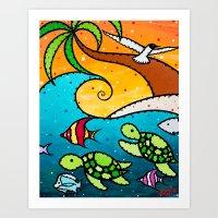 Turtle Wave Art Print
