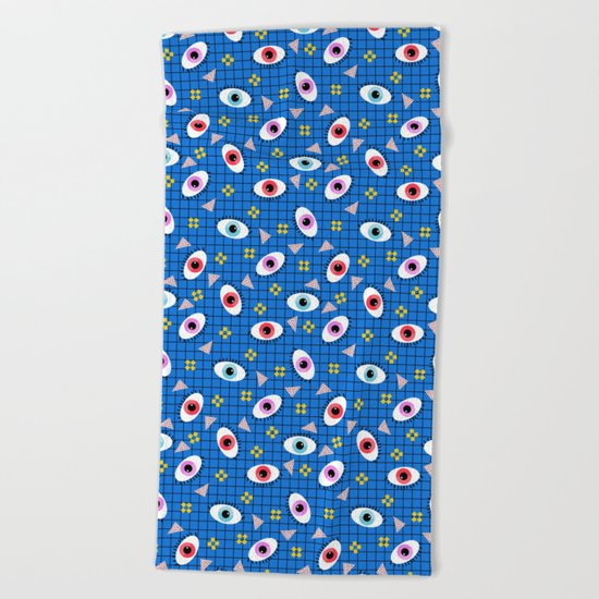 Hungry - eyes retro grid throwback 1980s minimal modern pattern print wacko designs neon  Beach Towel
