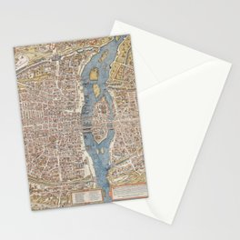 Color Map of Paris Circa 1550 Stationery Cards