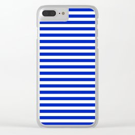 Cobalt Blue and White Thin Horizontal Deck Chair Stripe Clear iPhone Case
