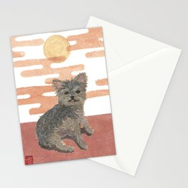 Yorkie and Pink Sunset, Mixed Media Stationery Cards